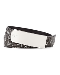 Giuseppe Zanotti Embossed Leather Belt Black