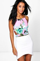 Boohoo Textured Tropical Cut Out Crop Multi