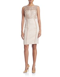 Kay Unger Lace And Tweed Sheath Dress Gold Multi