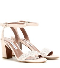 Tabitha Simmons Leticia Embellished Suede Sandals Pink
