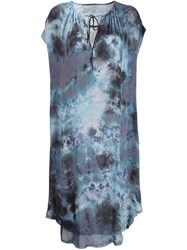 Raquel Allegra Tie Dye Silk Dress Blue