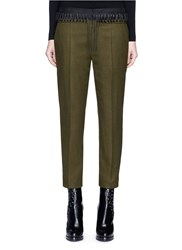 Haider Ackermann Lace Up Waist Cropped Wool Pants Green