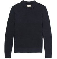 Folk Waffle Knit Stretch Cotton Sweater Navy