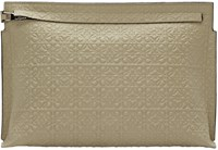 Loewe Khaki Leather Embossed Large Pouch