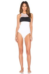 Alexander Wang Mesh And Matte Tricot One Piece Black And White