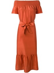 Tory Burch Off Shoulder Dress Yellow And Orange