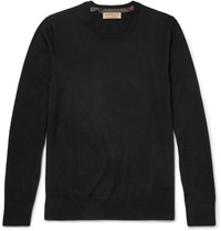 Burberry Check Trimmed Cashmere Sweater Black