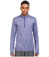 Nike Dry Element Long Sleeve Running Top Deep Royal Blue Heather Deep Royal Blue Reflective Silver Men's Long Sleeve Pullover Deep Royal Blue Heather Deep Royal Blue Reflective