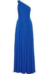 Halston Heritage One Shoulder Chiffon Gown Royal Blue