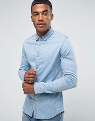 Asos Skinny Denim Shirt In Bleach Wash Blue