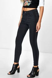 Boohoo Mid Rise Shadow Stripe Skinny Jeans Charcoal