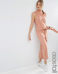 Asos Tall Sweat Jumpsuit With Tie Front Salmon Pink
