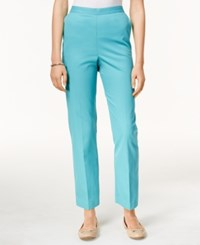 Alfred Dunner Pull On Cropped Pants Turquoise