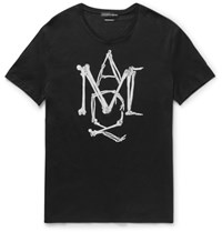 Alexander Mcqueen Slim Fit Printed Cotton Jersey T Shirt Black