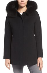 Sachi Petite Women's Wool Blend Coat With Genuine Fox Fur Trim Pine