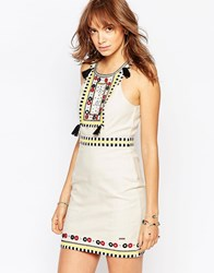 Pepe Jeans Canvas Dress With Beads And Tassles Multi