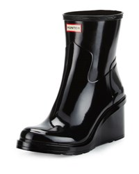 Hunter Original Refined Mid Wedge Rubber Rain Boot Black
