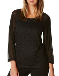 Rafaella Petite Cotton Blend Sheer Lace Top Black