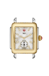 Michele 'Deco 16' Diamond Dial Two Tone Watch Case 29Mm X 31Mm Gold Silver