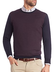 Corneliani Colorblock Wool Sweater Navy
