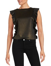 Design Lab Lord And Taylor Ruffle Sleeved Glitter Top Black Gold