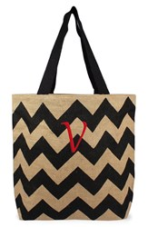 Cathy's Concepts Personalized Chevron Print Jute Tote Grey Black Natural V