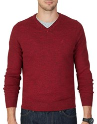 Nautica Marled V Neck Sweater Ribbon Red