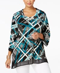 Jm Collection Plus Size Printed Handkerchief Hem Top Only At Macy's Teal Novel Plaid