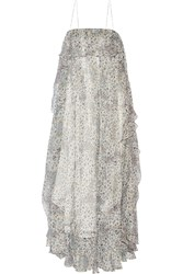 Zimmermann Empire Mist Ruffled Silk Blend Georgette Maxi Dress