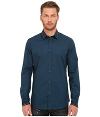 Just Cavalli Slim Fit Stone Wash Woven Shirt Orion Blue Men's Clothing