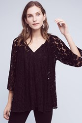 Anthropologie Teleza Lace Swing Top Black