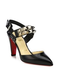 Christian Louboutin Studded Patent Leather Slingback Pumps Black Silver