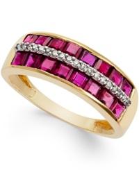 Macy's Ruby 2 Ct. T.W. And Diamond Accent Band In 14K Gold Red