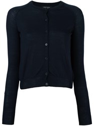 Roberto Collina Round Neck Cropped Cardigan Blue