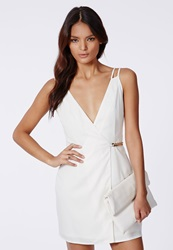 Missguided Judy Crepe Gold Chain Shift Dress White Cream