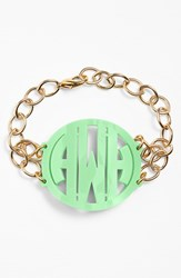 Women's Moon And Lola 'Annabel' Large Personalized Monogram Bracelet Mint Gold