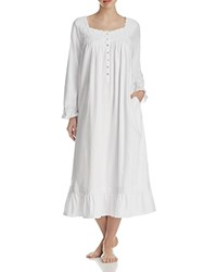 Eileen West Flannel Long Sleeve Ballet Nightgown White White Embroidery