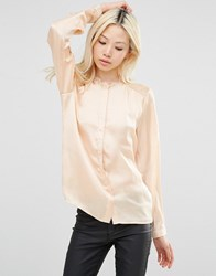 Y.A.S Shirt With Lace Shoulder Inserts Amberlight Yellow
