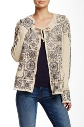 Biya Embroidered Short Cardigan Beige