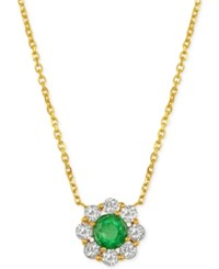 Macy's Emerald 1 2 Ct. T.W. And Diamond 1 2 Ct. T.W. Pendant Necklace In 14K Gold Green