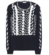 Altuzarra Bactra Leather Trimmed Alpaca And Wool Sweater Blue
