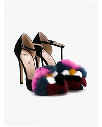 Fendi Suede Pumps With Mink And Fox Fur Black Multi Coloured Mink
