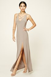 Forever 21 Crisscross Front Maxi Dress Taupe