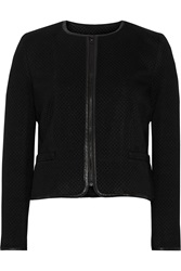Alice Olivia Leather Trimmed Quilted Jersey Jacket Black