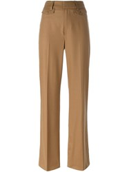 Dondup 'Palace' Straight Leg Trousers Brown