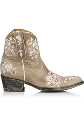 Mexicana Sora Embroidered Distressed Leather Ankle Boots Nude