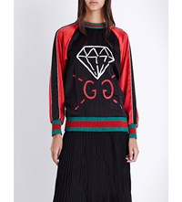 Guccighost Silk Top Blue Red
