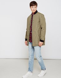 The Idle Man Long Line Bomber Jacket Green