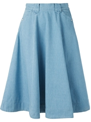 Levi's Made And Crafted Flared Denim Skirt Blue