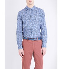 Paul Smith Ps By Slim Fit Graphic Print Cotton Shirt Blue